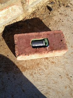 brick cache hollowed out to make a perfect hide