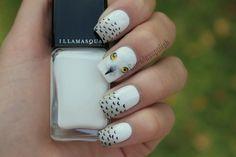 snowy owl nails design by coewlesspolish.  Perhaps a fun unique choice for a December theme