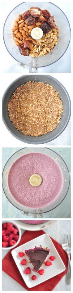 Raspberry Chocolate Vegan Cheesecake.  Very simple recipe.  Creamy cheesecake bursting with raspberry flavor and covered in chocolate. #vegan #soyfree #glutenfree #paleo