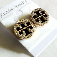 Rhinestone Gold Stud Tory Burch Earring