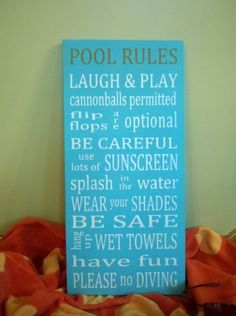 Cute - If I had a pool.  Make some changes for the bathroom?  Pool Rules Word Art Typography Wood Sign
