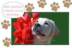 Yellow Labrador Puppy with Large Red Bow by overthefenceart, $5.00