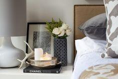 antler, vignett, color, table styling, silver trays, table arrangements, bedside tables, candl, bedroom