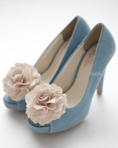 Blue Shoe With Vintage Champagne Ruffle Flower