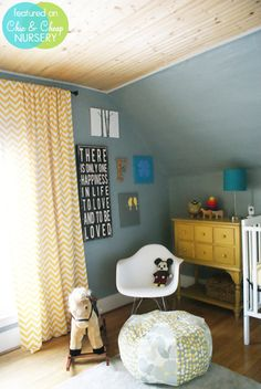 gender neutral nursery. gray, yellow and aqua.