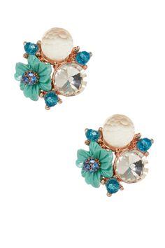 Flower & Crystal Cluster Stud Earrings