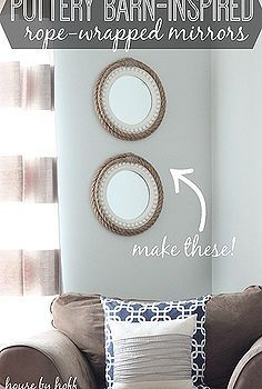 pb inspired rope wrapped mirrors, design d cor, diy home crafts, living and dining room, repurposing upcycling, walls ceilings