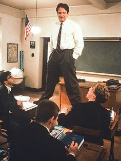 "Remembering Robin Williams: His Life in Pictures | WORDS TO LIVE BY | ""No matter what anybody tells you, words and ideas can change the world,"" Williams stated in 1989's Dead Poets Society, a drama marked by his nuanced portrayal of an English teacher who dares to think outside the classroom. His performance as John Keating earned him another Oscar nod, as well as a Golden Globe nomination."