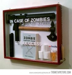 In case of zombies… (I'm totally making one of these, if for no other reason than to display the man's zombie stuff.)
