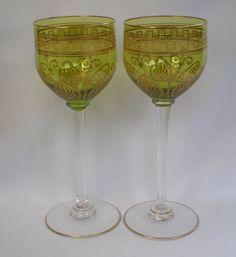 Pair, Crystal Stemmed Wine Glasses  , Vintage 1920's,Shop Rubylane.com
