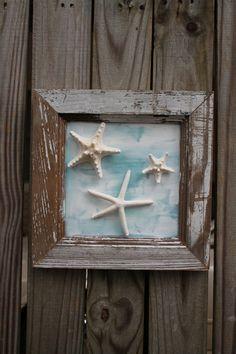 Framed Starfish Wall Art Coastal Wall Art by MyHoneypickles