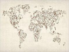 tattoo idea, floral swirl, map floral, gallerywrap canva, art prints, world maps, beauti, awesom tattoo, swirls