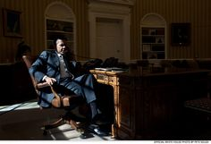 Feb. 13, 2012: President Obama talks on the phone with British Prime Minister David Cameron in the Oval Office.