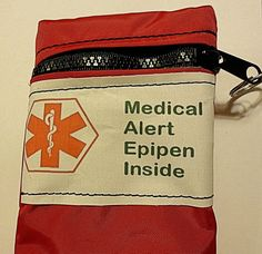 Epi pen case pouch carrier insulated zippered bag - red, purple OR royal blue with Medical alert label