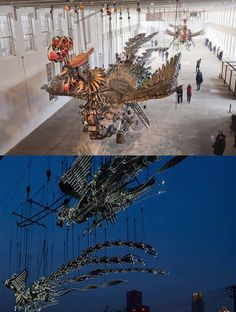 """Phoenix"" by Xu Bing. Over 50 feet long and made entirely of parts from a construction site in Bejing. I got to see it in the flesh (steel?) at MassMoca in North Adams, Ma."