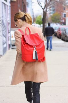 Treat your look to a pop of color {Coat & Bag from @marshalls}