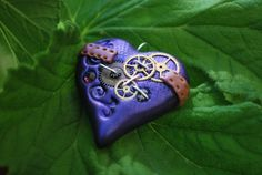 Polymer Clay Steampunk Heart Pendants