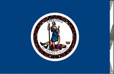 "Virginia state flag -  A deep blue field contains the seal of Virginia with the Latin motto "" Sic Semper Tyrannis"" - ""Thus Always to Tyrants"". Adopted in 1776. The two figures are acting out the meaning of the motto. Both are dressed as warriors. The woman, Virtue, represents Virginia. The man holding a scourge and chain shows that he is a tyrant. His fallen crown is nearby."