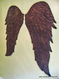 wood angel wings wall art dark angel