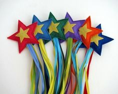 Shooting stars.  Felt filled with rice.  What a fun throwing toy!
