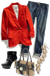 jean, game day outfits, fall coats, dress, red jacket, fall looks, red blazer, fall styles