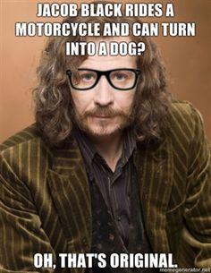 harri potter, hipster, gary oldman, harry potter memes, twilight, sirius, thought, harry potter humor, jacob black