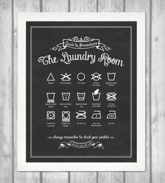 Guide to Procedures Laundry Room Print - Vintage Black