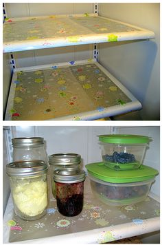 Line your fridge shelves with Press'n Seal or Saran Wrap for easy fridge cleanup! Why have I not done this? Brilliant!    A tip for keeping your refrigerator clean...line the clean shelves with Saran Wrap or Press'n Seal. If a spill or mess occurs, simply peel the wrap off, throw away the mess, and recover! Keeps my fridge clean! (I was lucky enoug