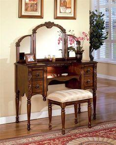 Antique Oak Makeup Vanity Table Set w/ Mirror