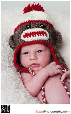 Sock Monkey Crochet Newborn Hat