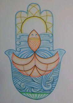 Wish Fish HAMSA - Mandala style, original, by Israeli artist: Zoharit Rubin. $50.00, via Etsy.