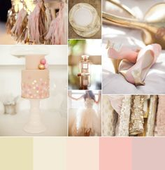 Love this metallic and blush color palette for a sweet summer wedding!