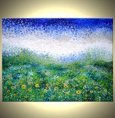 Original Large Abstract Yellow Impressionist Sun by Laffertyart, $1260.00
