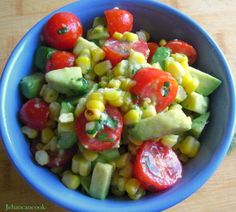 Roasted Corn, Avocado and Tomato Salad with a Honey Lime Vinaigrette