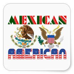 Mexican American Eagles Square Sticker shipping to South San Francisco, CA  #hispanic #gravityx9 #zazzle #mexican #chicano