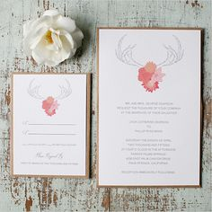 Introducing the Antlers Free Printable. Yay! Customize the invitation with any text you want! Comes in pink & purple.