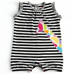 Black White Zebra Romper This baby girl romper is so adorably cute! Bold black and white stripes, a multi giraffe appllique (with pale pink piping), missmatched snaps, and the sweetest little grey ruffles at the sleeves...your little girl will look so so sweet and chic! #toddlerfashion #littlemissmatched