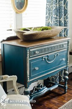 Miss Mustard Seed. Flow Blue dresser from her new line of milk paint. Blue, white and green my favorite color combination