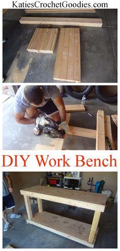 DIY Work Bench Tutorial #diy #woodwork #storage #workbench ---> http://www.katiescrochetgoodies.com/2013/10/diy-work-bench-tutorial.html