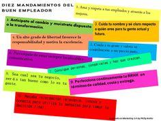 """10 Mandamientos del Buen Empleador  Fuente: Philip Kotler, denominado """"Marketing 3.0"""