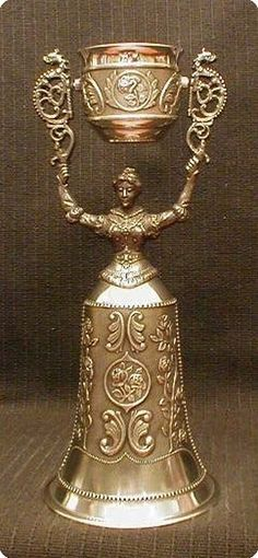 """Pewter Nuernberg Bridal Cup. 8"""" tall."""