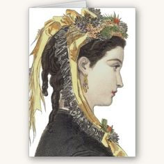 Greeting Card: Classic Victorian Beauty #vintage #fashion #profile #elegant