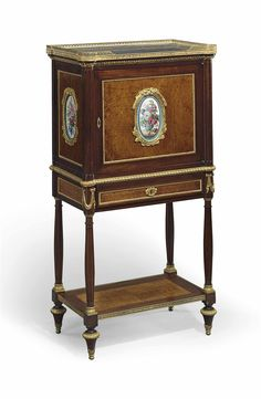 A FRENCH GILT-BRONZE AND PORCELAIN-MOUNTED AMBOYNA AND MAHOGANY SECRETAIRE LAST QUARTER 19TH CENTURY, THE PORCELAIN PLAQUES POSSIBLY 18TH CENTURY