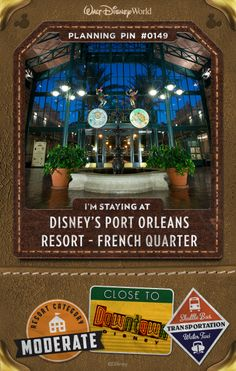 Walt Disney World Planning Pins: Revel in the romance and pageantry of New Orleans's historic French Quarter at this Resort hotel, where cobblestone streets, gas lamps, wrought-iron balconies and fragrant magnolia blossoms evoke the Antebellum era and colorful Mardi Gras characters and jazz keep things lively. Then stroll along the Sassagoula River to Disney's Port Orleans Resort – Riverside, home to Cajun and Creole specialties.