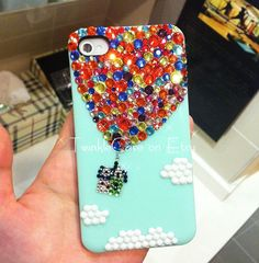 Up iPhone Case - Hot Air Balloon iPhone Case - Sky iPhone 5 Case - Rhinestone iPhone 4 / 4S Case - Bling Samsung Galaxy Case
