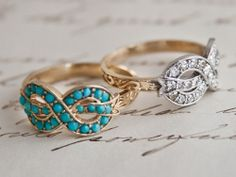 The BOW RING  turquoise  or diamonds  cica 1860