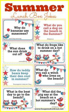 Printable Summer Lunch Box Notes Using Summer Jokes for Kids