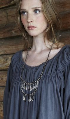 silver necklaces, shirt