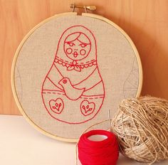 embroidery Russian dolls