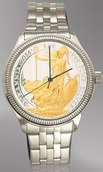 Aurista's UK .999 Fine Silver 1 oz. Britannia Coin Watch with 24KT Gold Highlights. Genuine Swiss movement, stainless steel case & Bracelet.